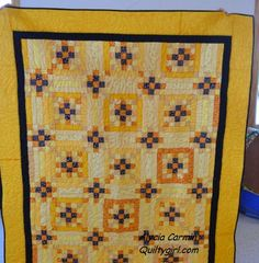 Dancing Squares Quilt  Black and Yellow by AlyciaQuiltyGirl
