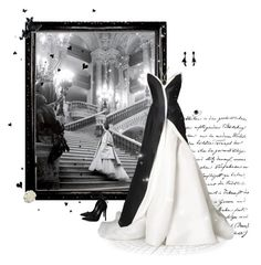 """Black & White Gown"" by greerflower ❤ liked on Polyvore featuring Oscar de la Renta, Ice, Cara, Donna Karan and 1928"