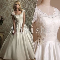 Beautiful lovely princess lace bodice pearl rhinestones short sleeves satin wedding dress