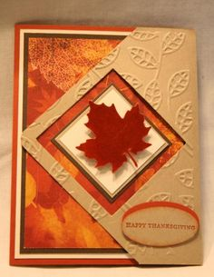 handmade Thanksgiving card by razldazl  ... tri-fold card ... shiny die cut maple leaft ... three layers of clear embossing ...