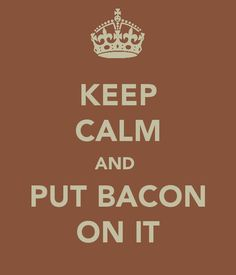 "this should definitely be my motto for when someone is having trouble with something. if someones boyfriend broke up with them, i would say, ""put some bacon on it."" and ect."