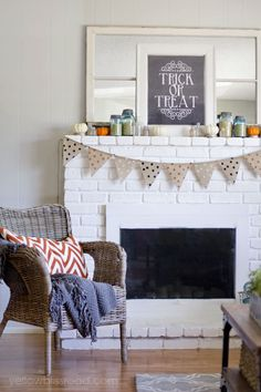 Fall Mantel with a Free Trick or Treat Printable Chalkboard