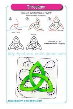 Threeknot by Silke Wagner Art Doodle, Tangle Doodle, Tangle Art, Zentangle Drawings, Doodle Drawings, Zentangles, Doodle Patterns, Zentangle Patterns, Zen Art