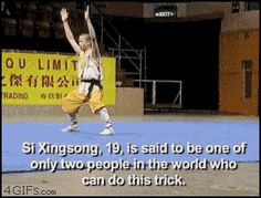 Shaolin Monk, Si Xingsong, does the impossible two-finger balance (Zenist Kung Fu) Martial arts gif