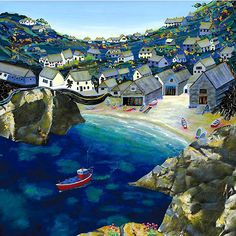 Cadgwith at Dawn OIl on canvas Gilly Johns Illustrations, Illustration Art, Pretty Pictures, Cool Photos, Costa, Primitive Painting, New Artists, British Artists, Famous Art