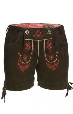 German LEDERHOSENN Elfi Leather Shorts red