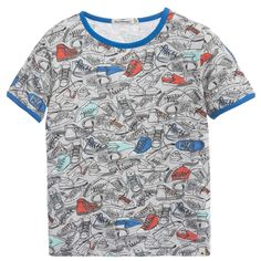 Boys grey 'sneaker' print t-shirt by Billybandit. Made in 'slub' cotton, it has an all-over print and contrasting neckline and cuffs in bright blue.