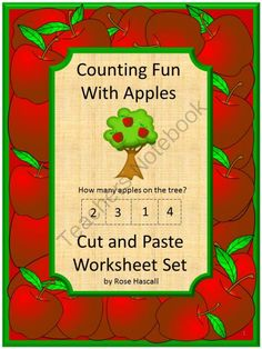 Counting Fun With Apples Cut and Paste, P-K,K,Special Education, Autism from smalltowngiggles on TeachersNotebook.com (19 pages)