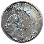 2001-P Double Struck New York Quarter - The coin is sadistic and is not satisfied being struck once. A production goof keeps the coin in the chamber for extra striking making a very odd looking coin.