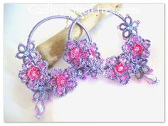 Hoop earrings handmade original tatted by gaestattedtreasures