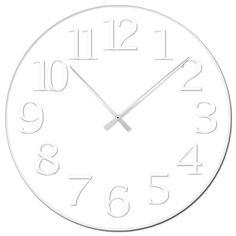 white on white clock White Clocks, Large Clock, Wall Clocks, Logo, Home Decor, Logos, Decoration Home, Chiming Wall Clocks, Room Decor