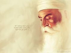 """""""One who is not touched by pleasure pain greed emotional attachment and egotistical pride. Nanak says listen mind: he is the very image of God."""" (Guru Granth Sahib Ji -beautiful artwork by Guru Nanak Photo, Guru Nanak Ji, Nanak Dev Ji, Guru Granth Sahib Quotes, Sri Guru Granth Sahib, Sikh Quotes, Gurbani Quotes, Qoutes, Guru Purab"""