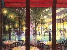 水彩 : 赤坂孝史の水彩画:::: シルクセンター前 ジャックカフェから Watercolor Scenery, Watercolor And Ink, Watercolor Paintings, Watercolors, Yokohama, Pretty Drawings, Concept Art, Anime, Canvas