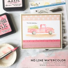 Tis the season no line watercolor stamping tutorial by Carolyn Peeler