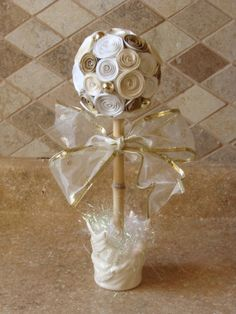 Off White and gold  Paper Rose Flower topiary party , baptism, wedding or Christmas centerpiece decoration