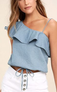 JOA Celebrate Blue Chambray Polka Dot One Shoulder Top via Best Casual Outfits, Summer Outfits, Summer Clothes, Look Fashion, Fashion Outfits, Cute Dresses, Dresses For Work, One Shoulder Tops, Beautiful Blouses
