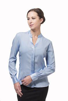 Silk button front shirt for busty women – Front Room Office Fashion, Work Fashion, Professional Women, Blue Blouse, Girl Boss, Women Wear, Silk, My Style, Womens Fashion