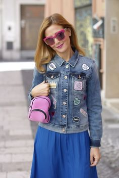 Denim jacket with patches and Save My Bag backpack
