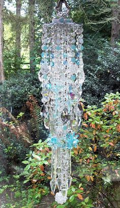 Sea and Sky Antique Crystal Wind Chime by sheriscrystals on Etsy, $264.95