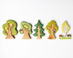 WALDORF Tree toy Birch tree Mushrooms Pretend by WoodenCaterpillar
