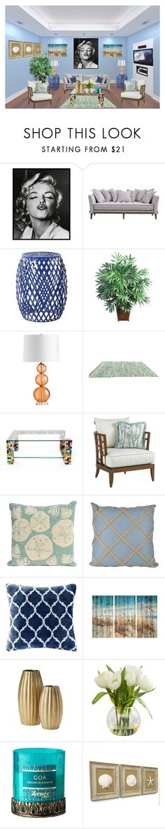 """""""Tropical Cottage"""" by gigi-sessions ❤ liked on Polyvore featuring interior, interiors, interior design, home, home decor, interior decorating, 1000Museums, Safavieh, Nearly Natural and Cyan Design"""