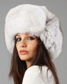 f70fbd2d616 Womens Blue Fox Full Fur Russian Hat Fox Hat