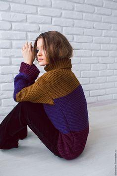 """Купить свитер """"блок"""" - тёмно-фиолетовый, горчичный, марсала, свитер вязаный, свитер женский"""
