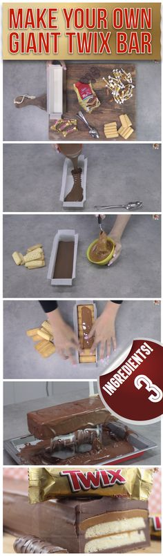 Because Twix. Make Your Own Giant Twix Bar - Three Simple Ingredients Just Desserts, Delicious Desserts, Dessert Recipes, Yummy Food, Giant Twix Bar, Yummy Treats, Sweet Treats, Cupcake Cakes, Cupcakes