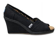 Toms Wedges Women Canvas Shoes Black Outlet