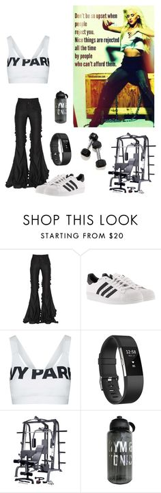 """Untitled #3754"" by kotnourka ❤ liked on Polyvore featuring Marco de Vincenzo, adidas, Topshop and Fitbit"