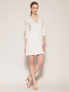 Calvin Klein Collection  Silk Long Sleeve Shift Dress  (white)
