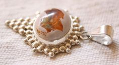 Round Fire Agate Sterling Silver Pendant Fire Agate by QuietMind