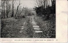 View of an abandoned section of the Summit Level of the Allegheny Portage Railroad taken over 100 years apart. The first is a postcard from 1908.