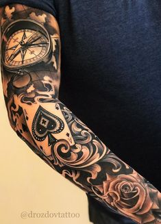 Ace of Spades Sleeve Arm Tattoo Custom Design Tattoo Ideas Tattoos Arm Mann, Forarm Tattoos, Arm Sleeve Tattoos, Dope Tattoos, Arm Tattoos For Guys, Body Art Tattoos, Hand Tattoos, Forearm Tattoo Men, Amazing Tattoos