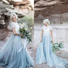 2019 Beach Wedding Dress, Charming Top Lace Short Sleeves Wedding Dresses, Fashion Popular Bridal Dress, Prom Dress sold by MissZhu Bridal. Shop more products from MissZhu Bridal on Storenvy, the home of independent small businesses all over the world. Western Wedding Dresses, Elegant Wedding Gowns, Modest Wedding Dresses, Wedding Dress Styles, Bridal Dresses, Dress Prom, Wedding Dresses With Blue, Wedding Country, Country Weddings