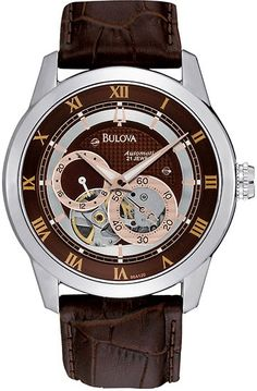 Bulova Mens BVA Chronograph Stainless Watch - Brown Leather Strap - Brown Dial