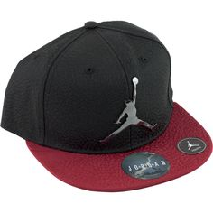 Nike Air Jordan Red Black Baseball Cap Hat Boys Size 8/20 Youth Chrome Logo