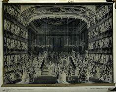 Incisione di Giovanni Battista Brustolon raffigurante il Ballo mascherato al Teatro S. Benedetto, dipinto di Antonio Canal, detto il Canaletto. Venezia, Museo Correr.