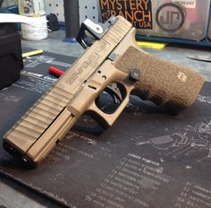 Zev Custom Cerakoted Glock with highly customized stippled grip and sights along with a Trijicon RMR Custom Glock, Tac Gear, Mens Toys, Cool Guns, Airsoft Guns, Guns And Ammo, Concealed Carry, Self Defense, Tactical Gear