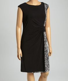 Another great find on #zulily! Black & Cream Graphic-Panel Sheath Dress - Plus by Shelby & Palmer #zulilyfinds