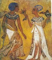 Relieve mural de una pareja real. Imperio Nuevo. XVIII Dinastía.