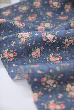 Cotton Fabric Floral Antique Bouquet - Indi Blue - By the Yard 39117 on Etsy, $11.75