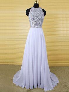 2016 Custom Charming Lavender Chiffon Prom Dress,Sexy Halter Beading Evening…
