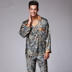 Click to Buy    New Luxury pajamas Men Paisley Pattern Sleepwear Silk long.     e24fd5f92
