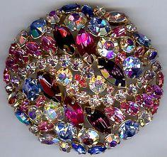 Alice Caviness Vintage Glorious Dazzling Pink Blue Purple Rhinestone Dome Pin | eBay