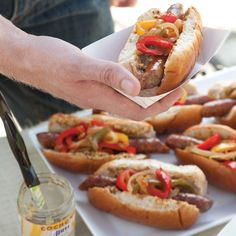 Sausage Dogs with Peppers and Onions Recipe - Taste of the South Dog Recipes, Onion Recipes, Burger Recipes, Grilling Recipes, Beef Recipes, Sausage Dogs, Brat Sausage, Bologna Recipes, Burger Dogs