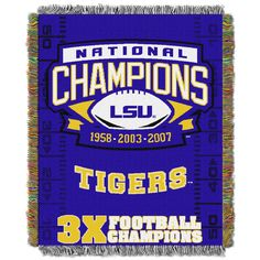 """LSU College """"""""Commemorative"""""""" 48x60 Tapestry Throw"""