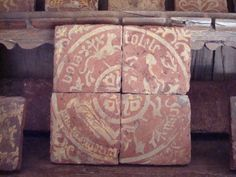 14th Century floor tile from Chateau de Germolles
