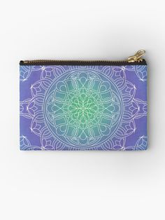 White Lace Mandala on Blue, Green and Purple Carry All Bag by Kelly Dietrich