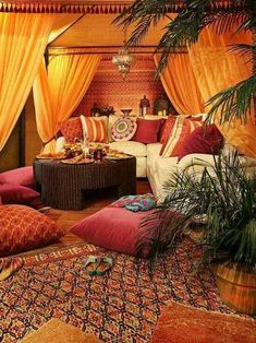 Make your Living room all the more beautiful, cozy, relaxing & boho chic with a bohemian decor. Here are the best Bohemian living room decor ideas for Moroccan Decor Living Room, Moroccan Bedroom, Indian Living Rooms, Bohemian Bedroom Decor, Moroccan Interiors, Living Room Decor, Modern Moroccan Decor, Bohemian Living, Diy Bedroom